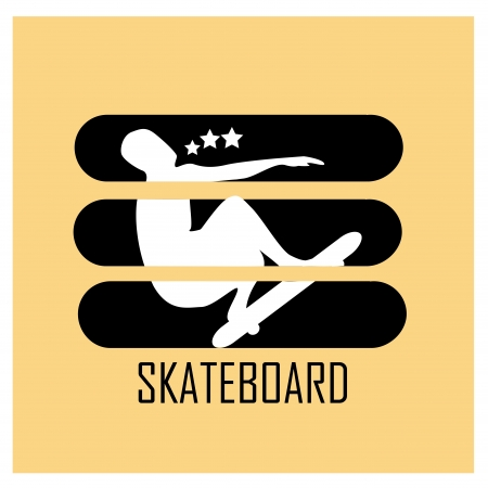 a white silhouette of a man with a skateboard in a yellow background Illustration
