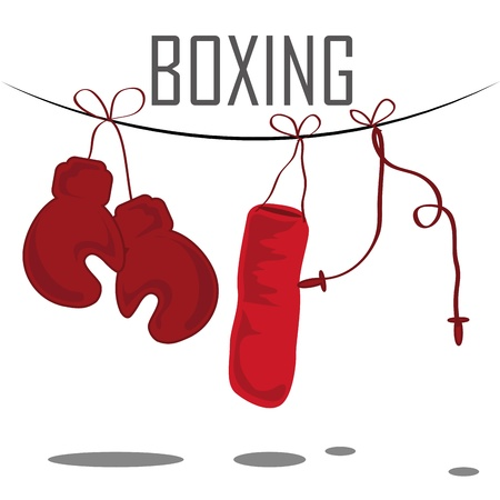 boxing ring: some red tools of boxing in a white background