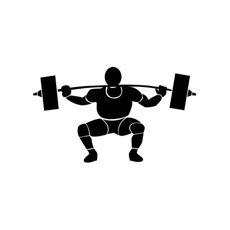 a black silhouette of a man with muscles doing sports in a white background