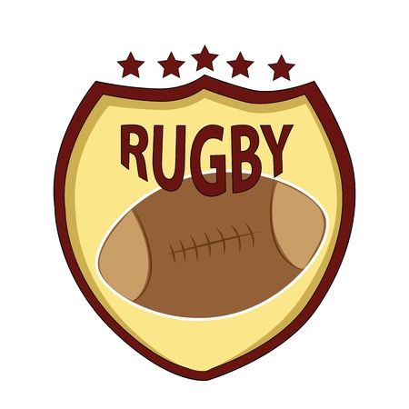 a leather made rugby ball in a yellow background Vector