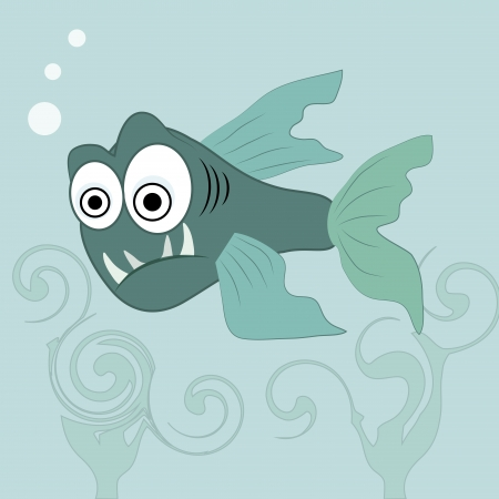 voracious: an angry blue fish in the ocean with big eyes Illustration