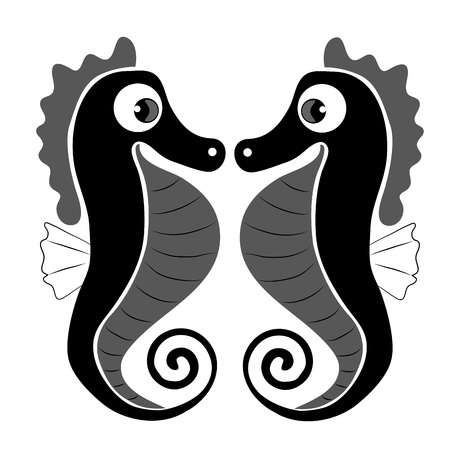 two beautiful seahorse with big eyes looking at each other Vector