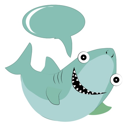 a happy blue shark with big teeths and a bubble Vector