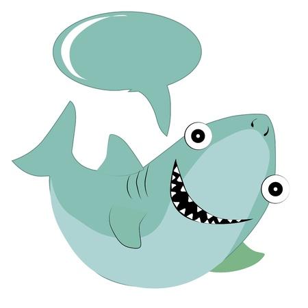 teeths: a happy blue shark with big teeths and a bubble