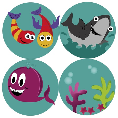four beautiful icons of what sealife is Vector