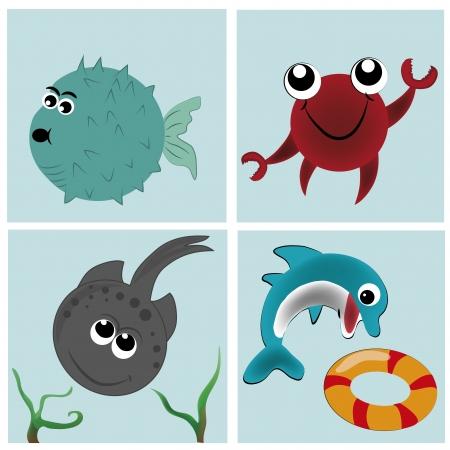Cuatro animales hermosos y felices del mar Foto de archivo - 21567128
