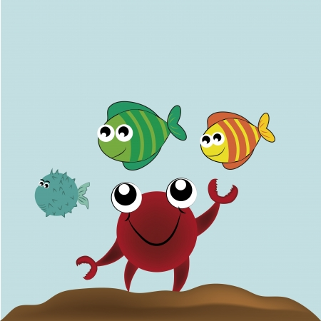 a happy red crab playing with his friends fishes Vector