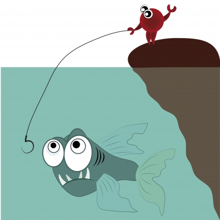 voracious: a crab fishing an angry fish in the ocean