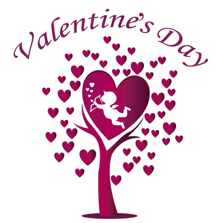 resemblance: a beautiful tree with purple hearts and cupid celebrating valentines day