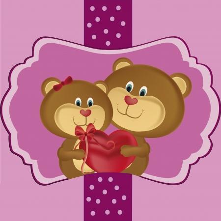 curare teneramente: due bellissimi orsi festeggiano San Valentino con un regalo Vettoriali