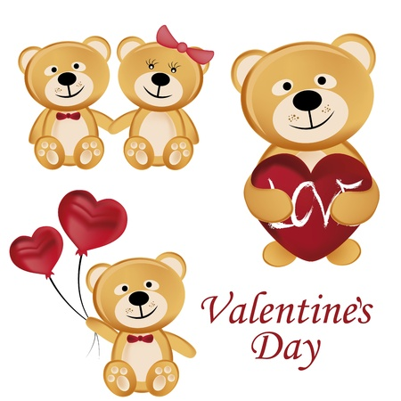four beautiful and cheerful teddy bears celebrating valentine's day in different ways Vector