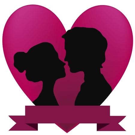 innamorati che si baciano: una coppia di amanti baciare sotto un grande cuore rosa
