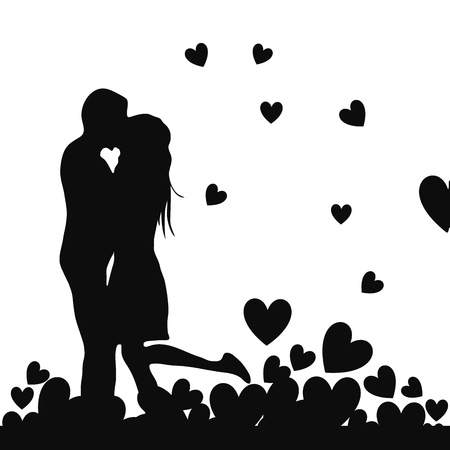 a couple kissing each other as silhouettes under a sea of hearts