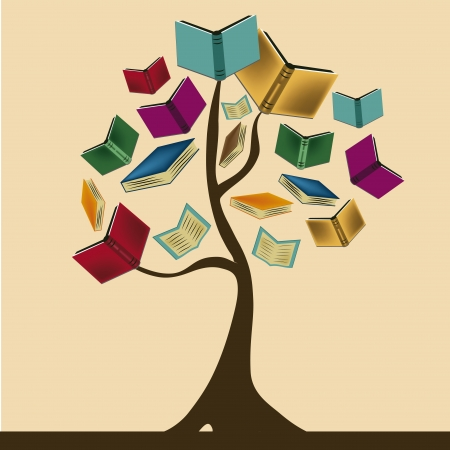 a beautiful tree composed by books representing knowledge Vectores