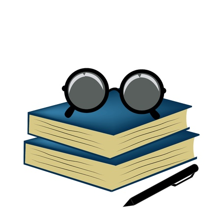 two blue books with glasses and a black pencil