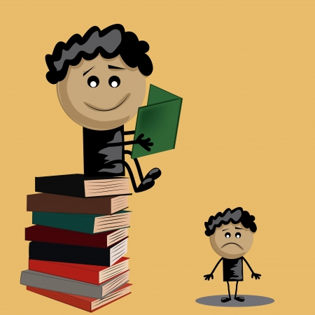 one boy standing in a pile of books and a sad boy with no books Vector