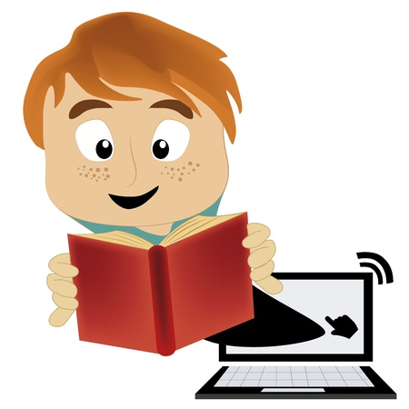 a happy blond man reading a book and coming out from the pc world Stock Vector - 21568932