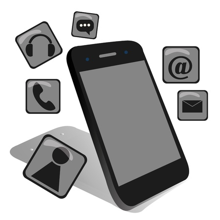 A black mobile phone with some applications Vector