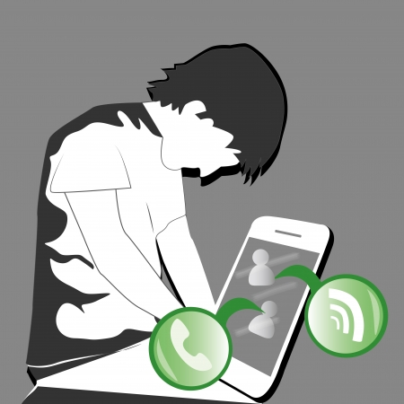A young boy chatting with a mobile device Vector