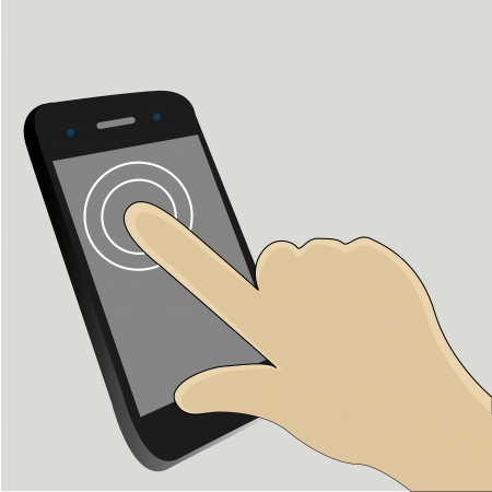 One finger touch the screen to start an app Vector