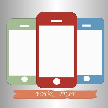A blue red and green cellphone ready to be bought Vector
