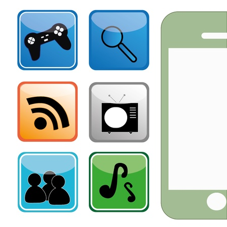 Some icons with some functions for a mobile device Vector