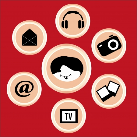 red background contains some functions on mobile entertainment Vector