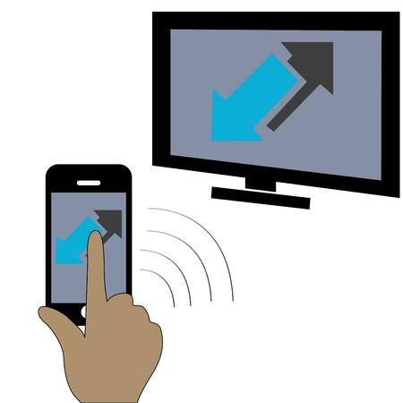 A touchscreen smartphone conected to a tv Stock Vector - 21568959