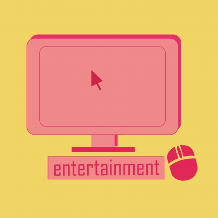 A pink computer with a mouse in a yellow background Stock Vector - 21568964