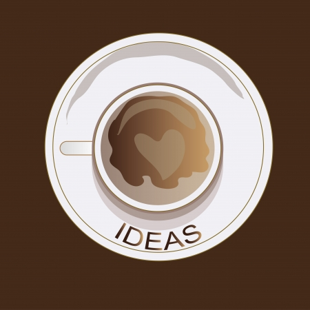 cofee: A heart drawn in a brown cofee in a mug with ideas