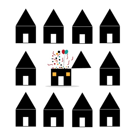 a lot of silhouettes of houses in a white background with only one different house Illustration