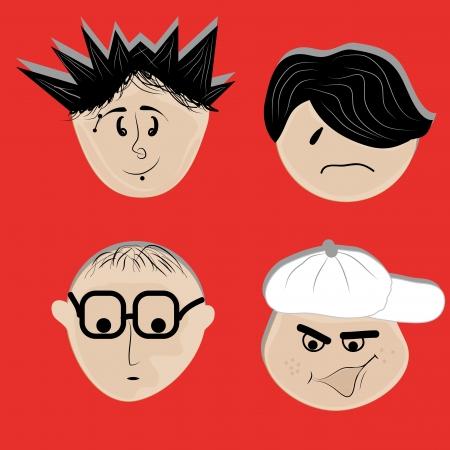 facial gestures: cuatro caras diferentes, con diferentes gestos faciales y peinados
