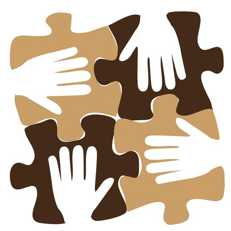 four white silhouettes of hands in a puzzle pattern Иллюстрация