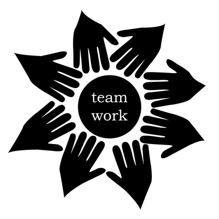 eight silhouettes of hands near a teamwork circle Vector