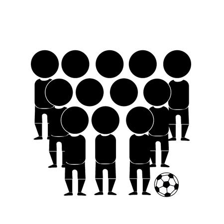black silhouettes of a soccer team in a white background royalty free cliparts vectors and stock illustration image 21682939