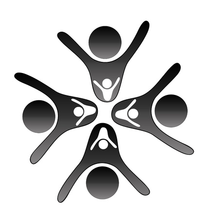 four black silhouettes with four white silhouettes of people working as a team Illustration