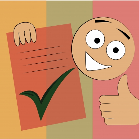 a happy boy showing its finished check list in a textured background Vector