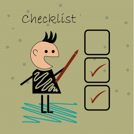 a human boy doing a checklist in a brown background Vector
