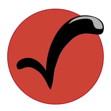 a black check symbol in a red circle in a white background Vector