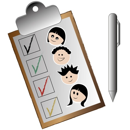 a checklist of the kids in the garden in a white background