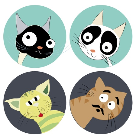 four icons of cat faces in a white background Vector