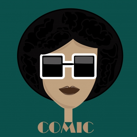 an afro boy with squared black glasses in a green background
