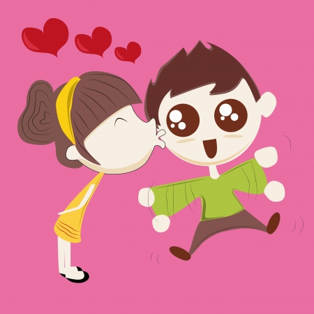 a happy woman kissing his boyfriend in a pink background Illustration