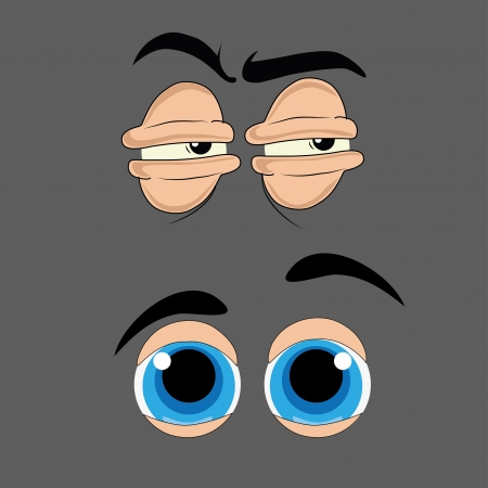 two facial expression represented as eyes in a grey background Vector