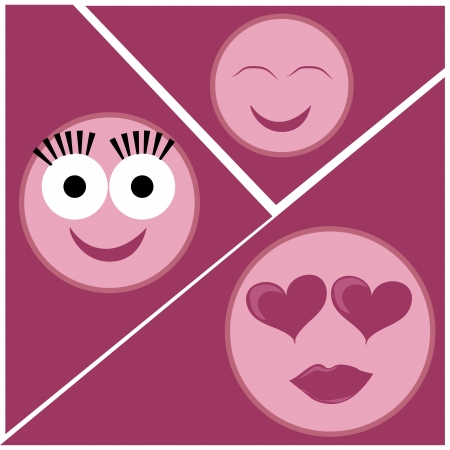 three pink icons of facial expressions in a pink background Vector