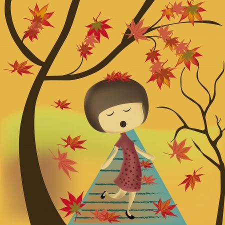 morning walk: a beautiful woman with a red dress singing under the autumns tree Illustration