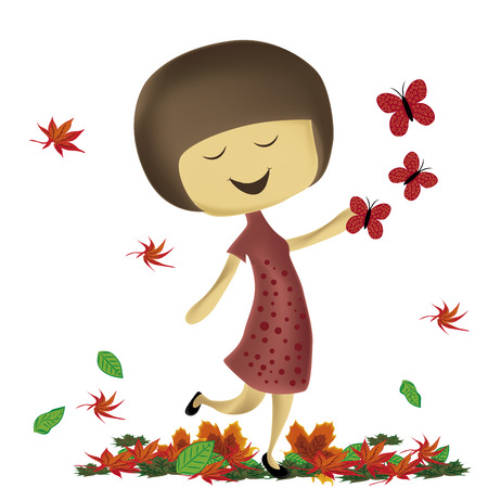 morning walk: a happy woman with a red dress in autumn
