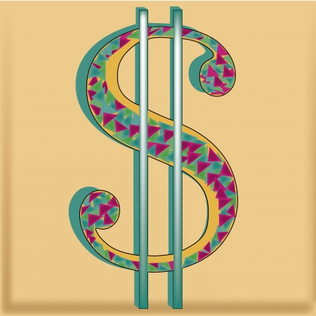 A Styled Symbol Of Money With Purple Blue Green Triangles In