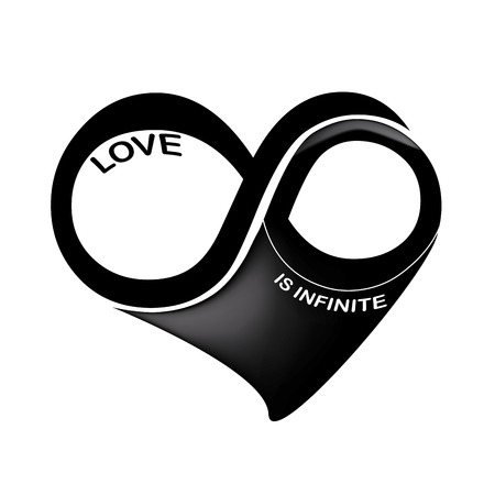 infinite loop: a black and white infinity symbol in a heart shape in a white background Illustration