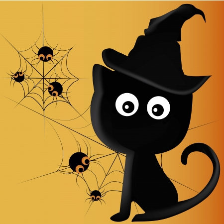 a black cat with a black hat and some spiders in halloween Vector